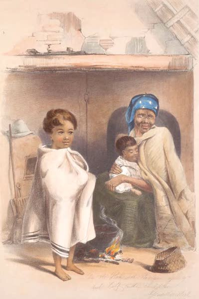The Kafirs Illustrated in a Series of Drawings - An old Hottentot Woman, with half caste great-grandchildren (1849)