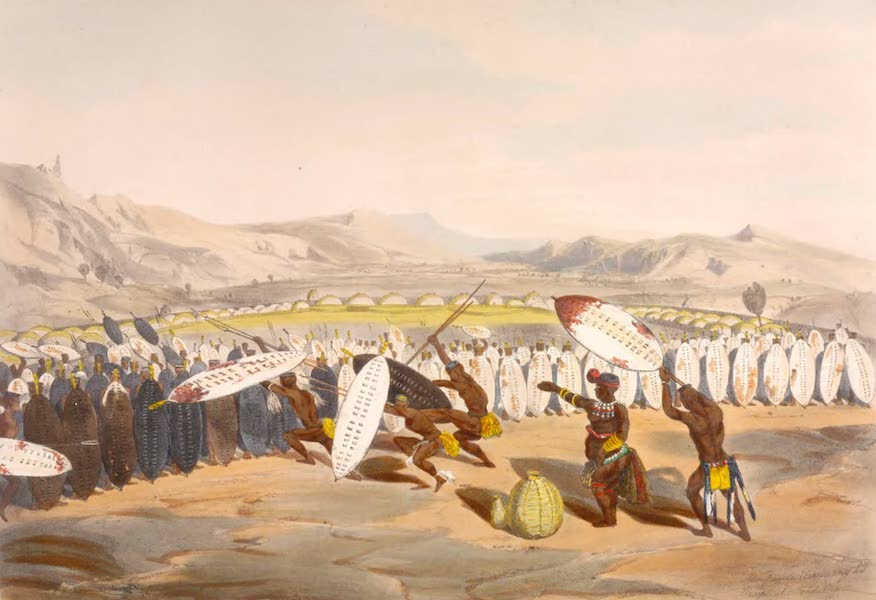 The Kafirs Illustrated in a Series of Drawings - Panda reviewing his soldiers at Nonduengu (1849)
