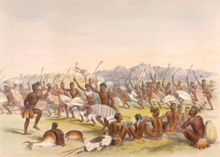 The Kafirs Illustrated in a Series of Drawings - Mathlapi's Hunting Dance in the Zulu Country (1849)