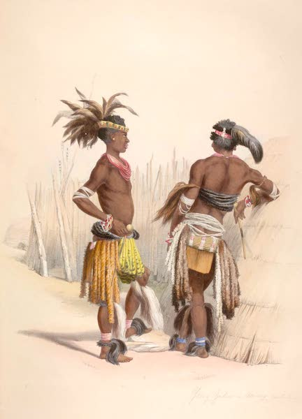 The Kafirs Illustrated in a Series of Drawings - Umbambu and Umpengulu, Young Zulus in their dancing costume (1849)