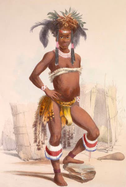 The Kafirs Illustrated in a Series of Drawings - Nc'pae, a young Zulu in his dancing dress (1849)