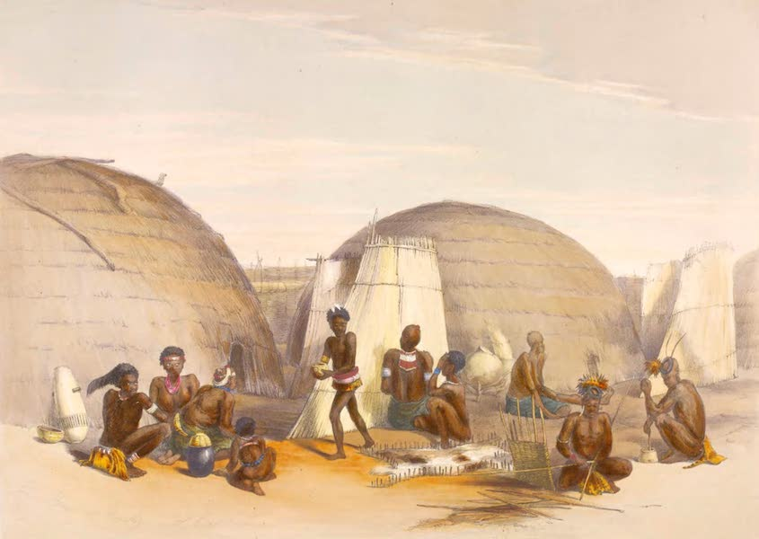 The Kafirs Illustrated in a Series of Drawings - Scene in a Zulu Kraal with Huts and Screens (1849)