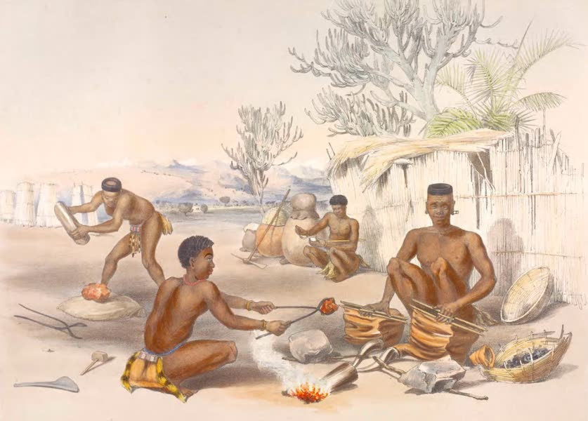 The Kafirs Illustrated in a Series of Drawings - Zulu Blacksmiths at work (1849)