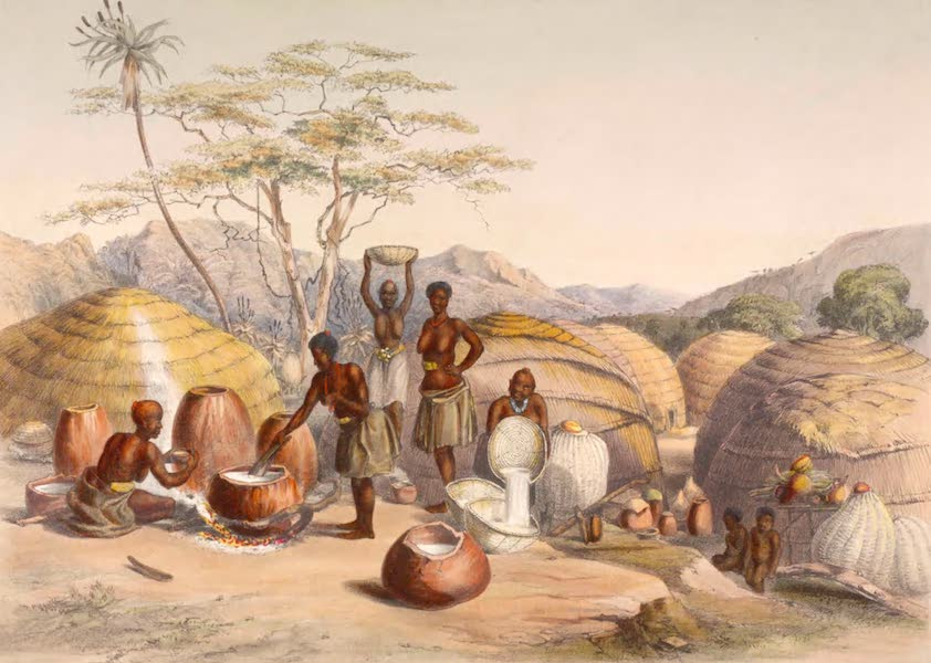 The Kafirs Illustrated in a Series of Drawings - Zulu Women making Beer at Gudu's Kraal on the Tugala River (1849)