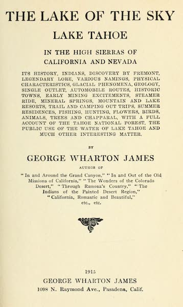 The Lake of the Sky, Lake Tahoe - Title Page (1915)