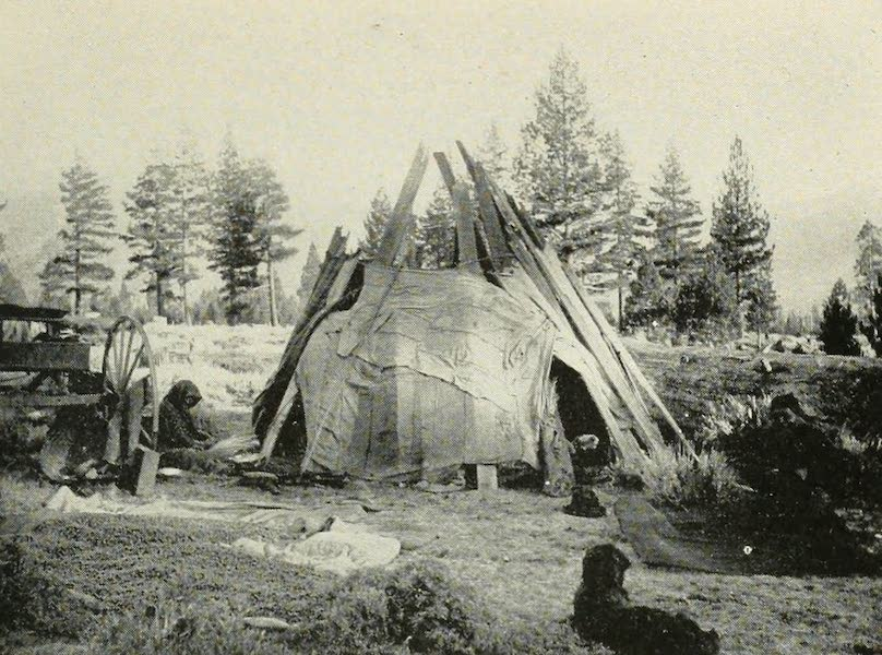 The Lake of the Sky, Lake Tahoe - A Washoe indian Campoodie, Near Lakeside Park, Lake Tahoe (1915)