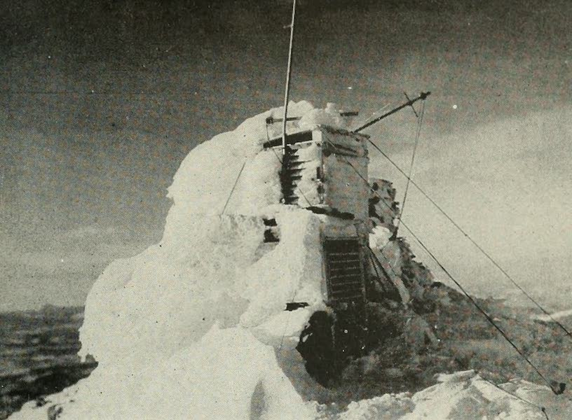 The Lake of the Sky, Lake Tahoe - The Fergusson Metrograph on the summit of Mt. Rose, wrecked by snow... (1915)