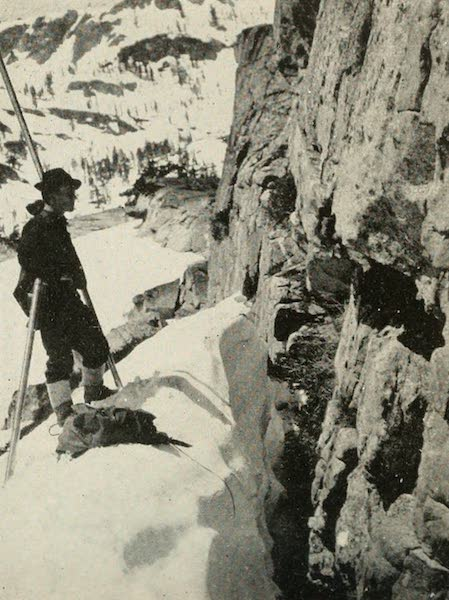 The Lake of the Sky, Lake Tahoe - Snow Surveyor on the Mountains above Glen Alpine in Winter (1915)