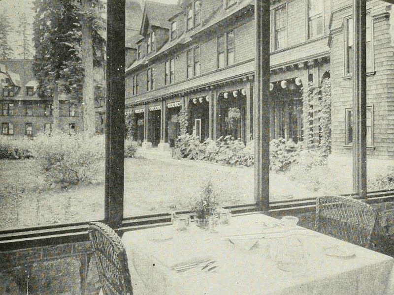 The Lake of the Sky, Lake Tahoe - The Front of Tahoe Tavern from a Table in the Dining-Room (1915)