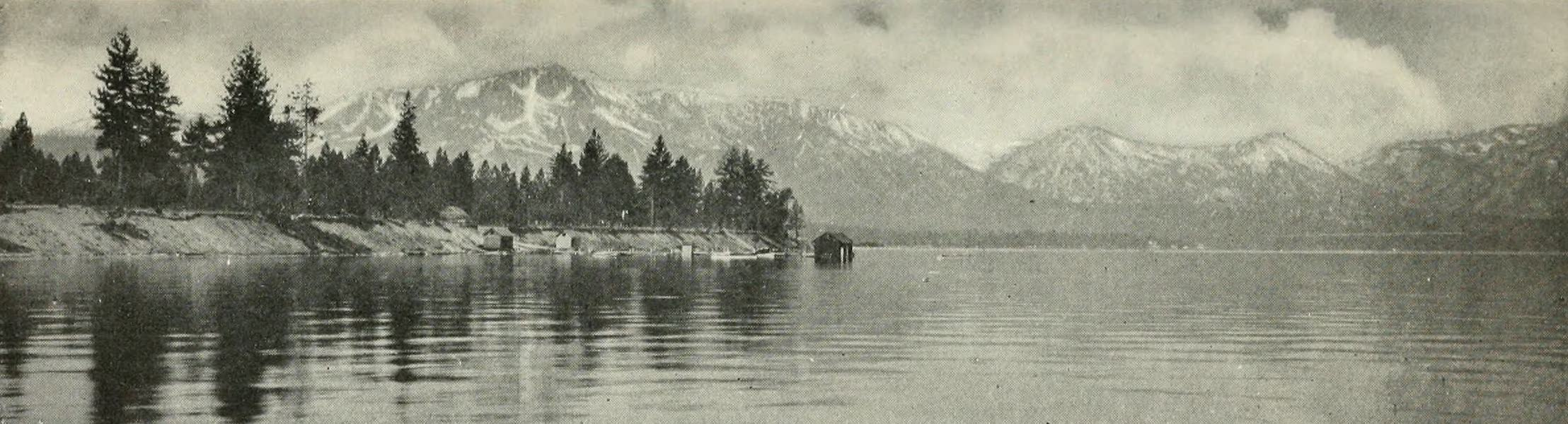 The Lake of the Sky, Lake Tahoe - Mount Tallac, Rubicon Peaks, etc., from Long Wharf at Al Tahoe, Lake Tahoe (1915)