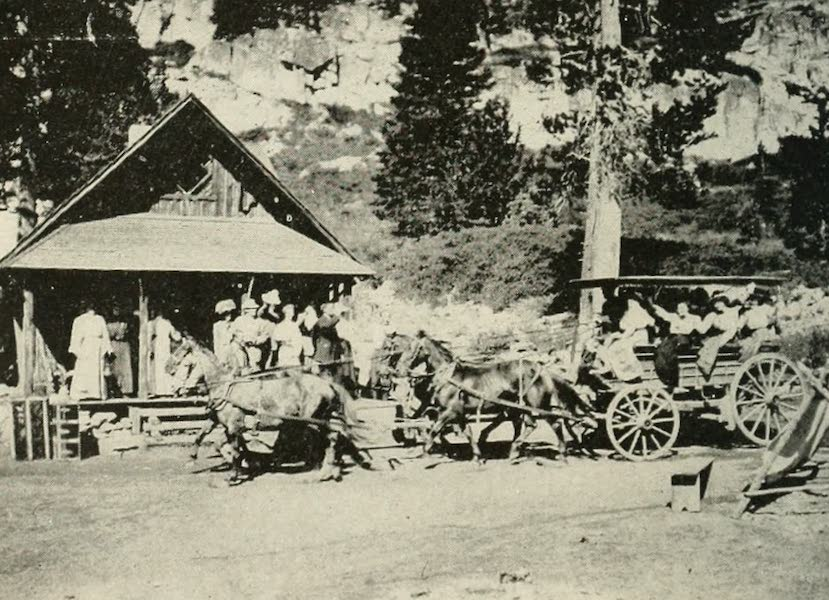 The Lake of the Sky, Lake Tahoe - In the 'Good Old Days'. Glen Alpine Stage approaching Office at Glen Alpine Springs (1915)