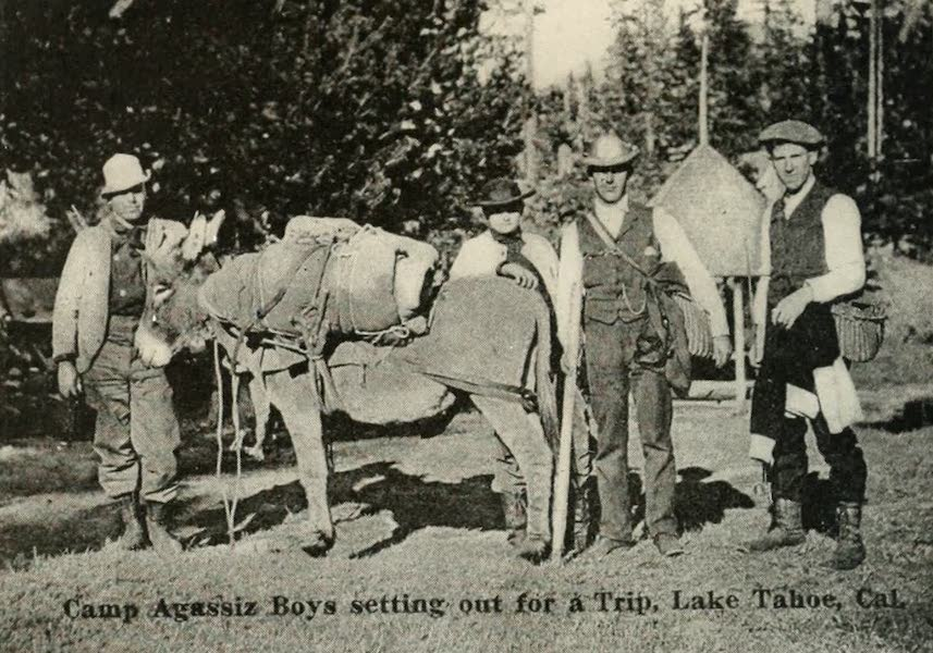 The Lake of the Sky, Lake Tahoe - Camp Agassiz Boys Setting out for a Trip, Lake Tahoe, Cal. Copyright 1910, by Harold A. Parker. (1915)