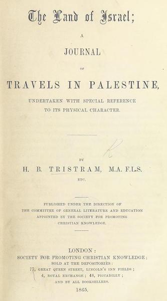 The Land of Israel - Title Page (1865)