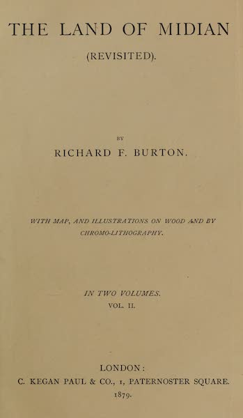 The Land of Midian (Revisited) Vol. 2 - Title Page (1879)