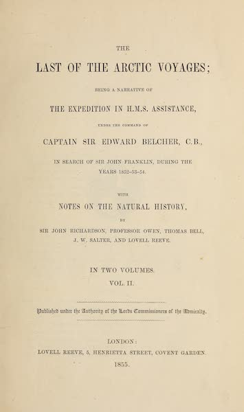 The Last of the Arctic Voyages Vol. 2 - Title Page (1855)