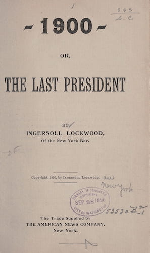 1900; or, The Last President (1896)