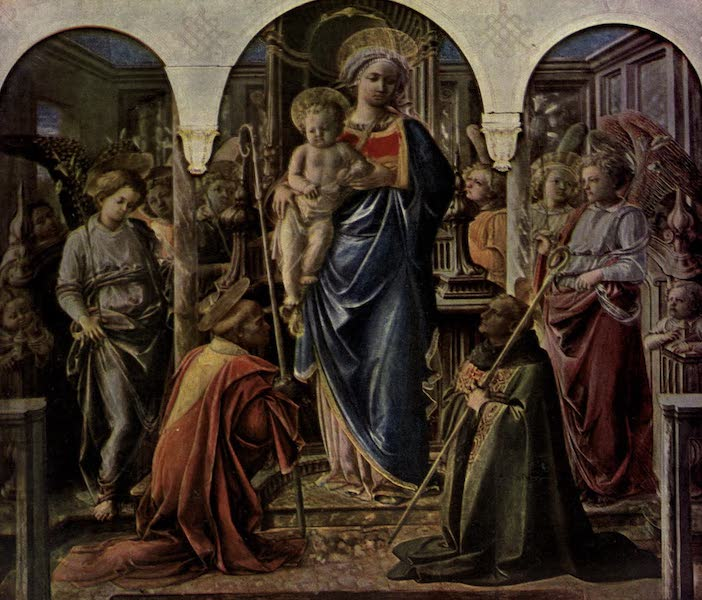 The Louvre : Fifty Plates in Colour - Fra Filippo Lippi - Madonna And Child, With Angels, And Two Abbots (1910)