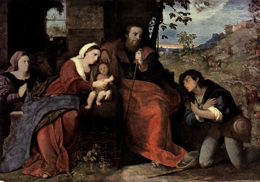 The Louvre : Fifty Plates in Colour - Palma Vecchio - The Adoration Of The Shepherds, With A Female Donor (1910)