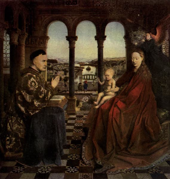 The Louvre : Fifty Plates in Colour - Jan Van Eyck The Virgin And Child, And The Chancellor Rolin (1910)