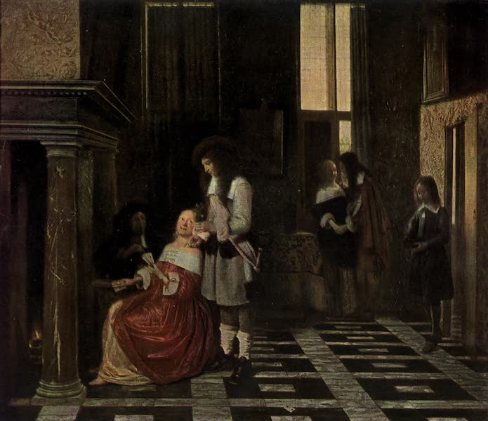 The Louvre : Fifty Plates in Colour - Pieter De Hooch - Dutch Interior, With A Lady Playing Cards (1910)
