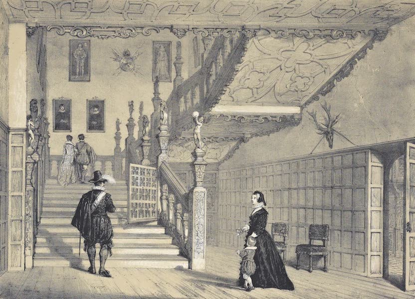 The Mansions of England in the Olden Time Vol. 1 - Principal Staircase at Hatfield (1839)