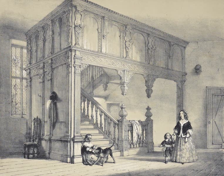The Mansions of England in the Olden Time Vol. 1 - Staircase, Wakehurt, Sussex (1839)