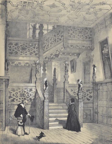 The Mansions of England in the Olden Time Vol. 1 - Staircase, Crewe Hall, Cheshire (1839)