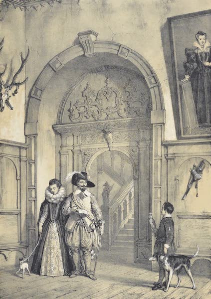 The Mansions of England in the Olden Time Vol. 1 - Entrance to the Grand Staircase, Holland House, Kensington (1839)