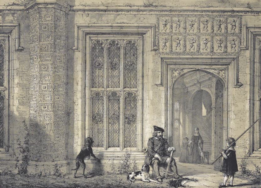 The Mansions of England in the Olden Time Vol. 1 - Entrance to the Hall, Sutton Place near Guildford, Surrey (1839)