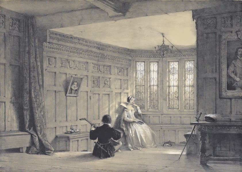 The Mansions of England in the Olden Time Vol. 1 - Bay Window in Dining Room, Haddon Hall, Derbyshire (1839)