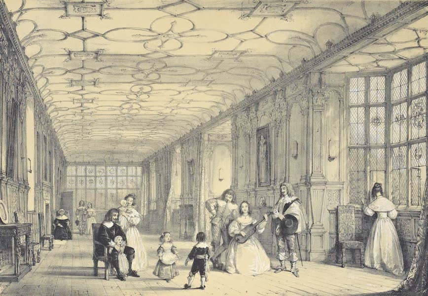 The Mansions of England in the Olden Time Vol. 1 - Long Gallery, Haddon Hall, Derbyshire (1839)