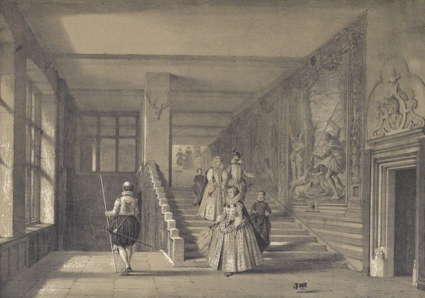 The Mansions of England in the Olden Time Vol. 2 - Grand Staircase, Hardwicke Hall, Derbyshire (1839)