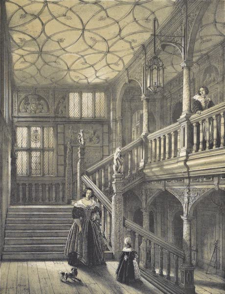 The Mansions of England in the Olden Time Vol. 2 - Staircase, Knowle, Kent (1839)