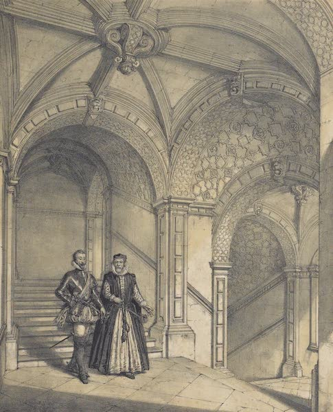 The Mansions of England in the Olden Time Vol. 3 - Staircase, Burleigh, Northamptonshire (1839)