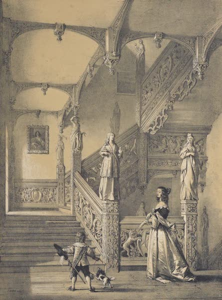 The Mansions of England in the Olden Time Vol. 3 - Staircase, Aldermaston, Berks (1839)