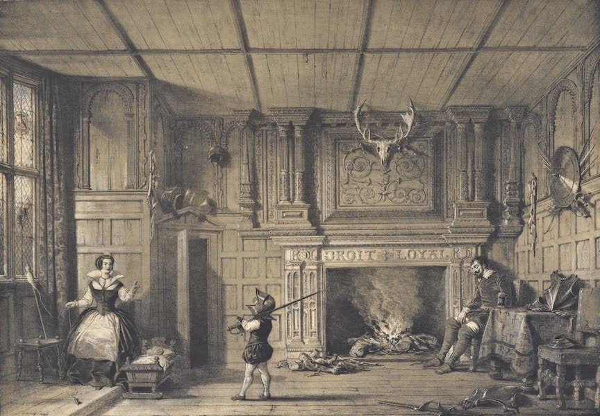 The Mansions of England in the Olden Time Vol. 4 - Fireplace in the Gate House, Kenilworth, Warwickshire (1839)