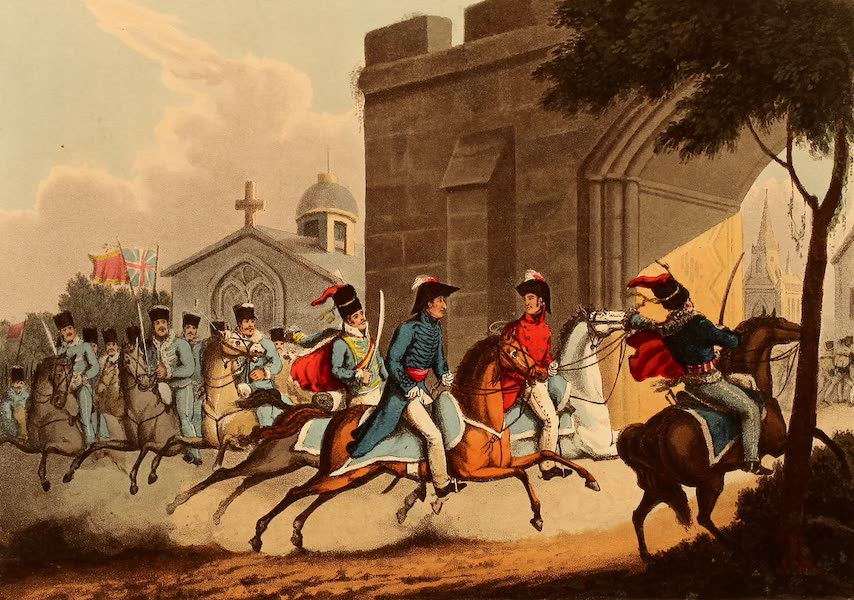 The Martial Achievements of Great Britain - Entrance of Lord Wellington into Salamanca; at the Head of a Regiment of Hussars - May 20th 1813 (1815)