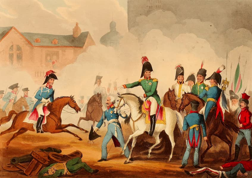 The Martial Achievements of Great Britain - Meeting of the Emperors of Russia & Austria, King of Prussia, & Crown Prince of Sweden, in the Great Square of Leipsic, Oct 18th 1813 (1815)