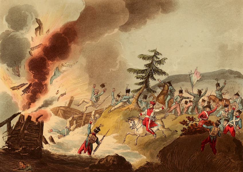The Martial Achievements of Great Britain - Blowing Up of the Bridge at Elster (1815)