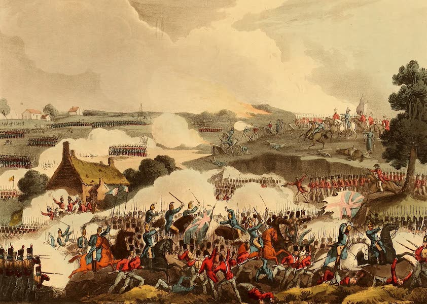 The Martial Achievements of Great Britain - The Centre of the British Army in Action at the Battle of Waterloo, June 18th 1815 (1815)