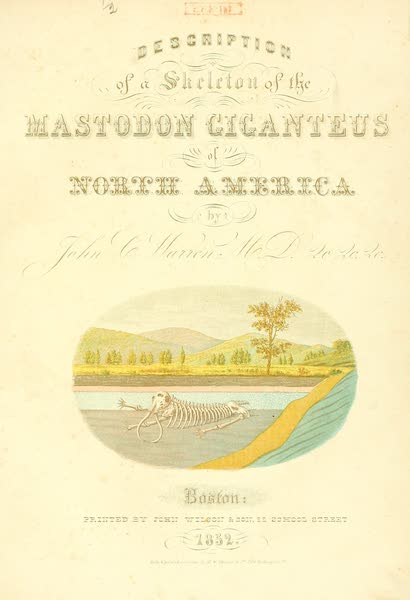 The Mastodon Giganteus of North America - Illustrated Title Page (1852)