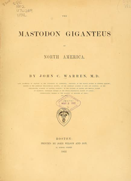 The Mastodon Giganteus of North America - Title Page (1852)