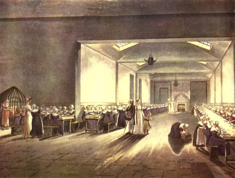 Microcosm of London Vol. 1 - 5. Dining Hall, Asylum. (1904)