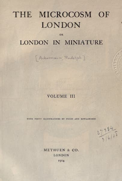Microcosm of London Vol. 3 - Title Page (1904)