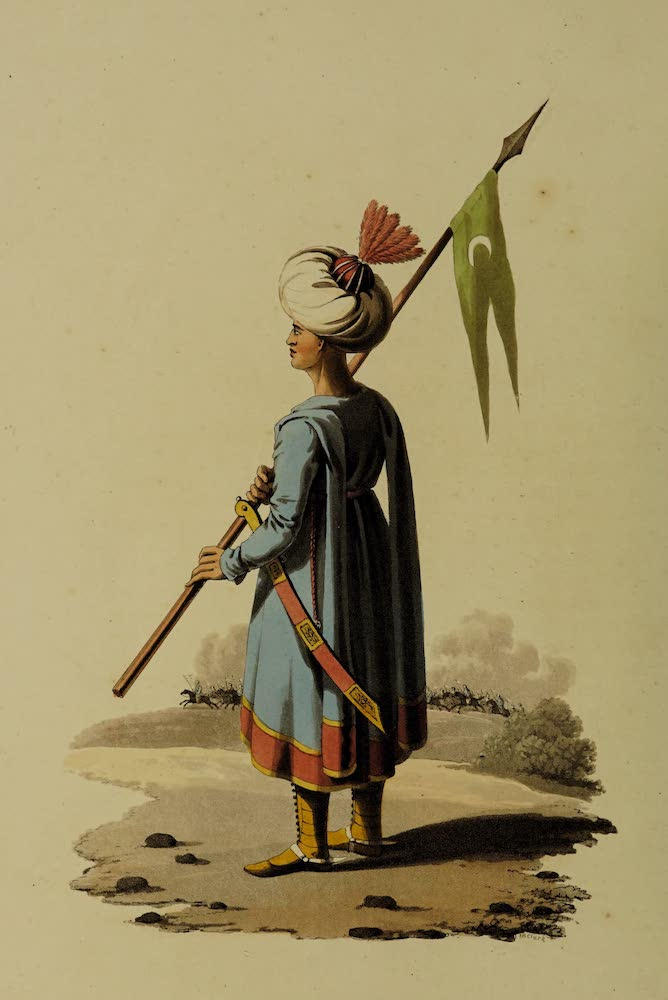 The Military Costume of Turkey - Ensign-Bearer of Spahis (1818)