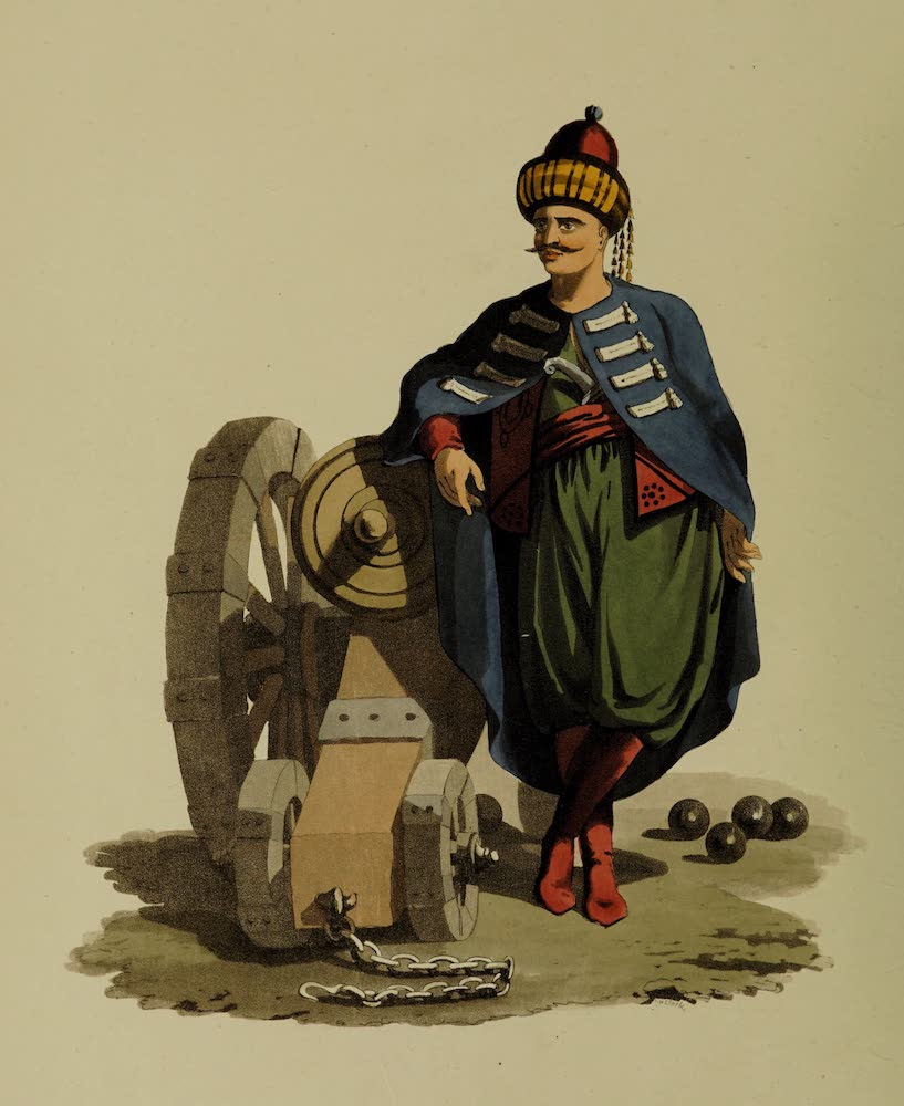 The Military Costume of Turkey - Officer of Turkish Artillery (1818)