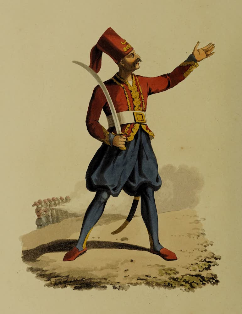 The Military Costume of Turkey - Officer of European Infantry (1818)