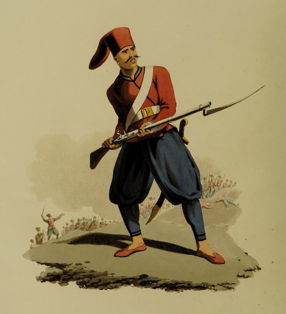 The Military Costume of Turkey - Soldier of European Infantry (1818)
