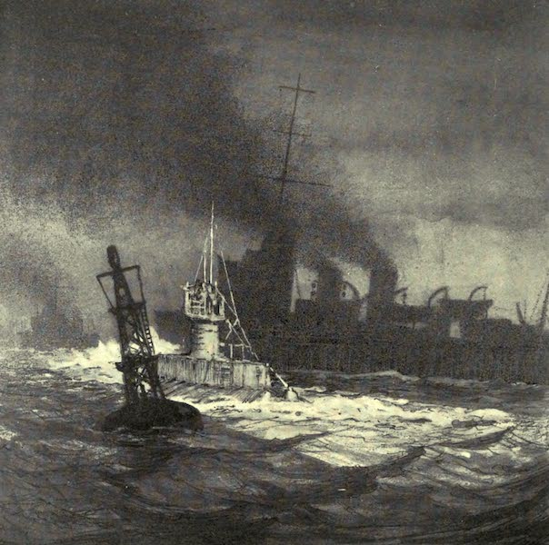 The Naval Front - The Bell Buoy: British Submarine and Destroyer entering Harbour (1920)