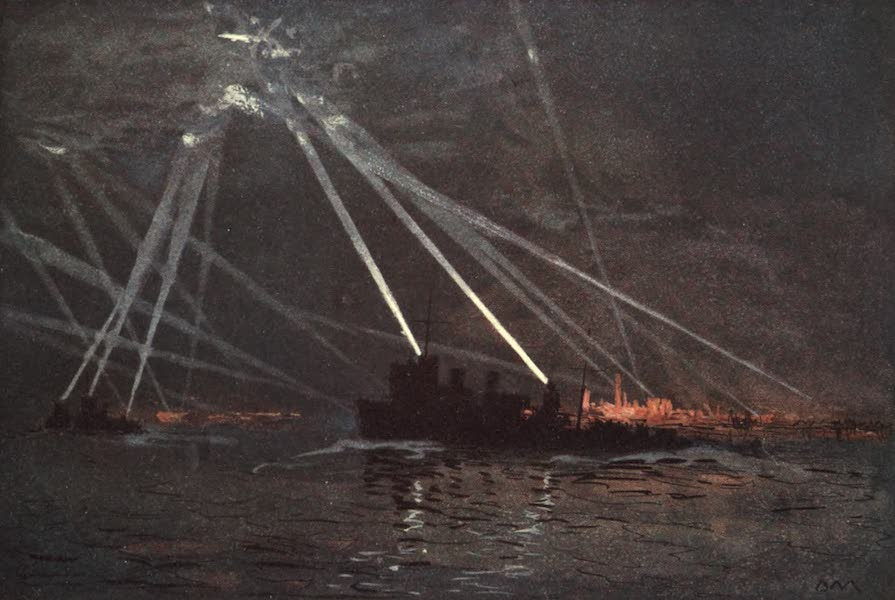 The Naval Front - Blood and Iron : an Air Raid in the North. Destroyers engaging a Zeppelin at the mouth of the Tyne (1920)
